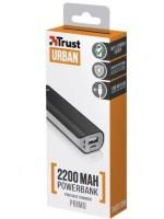 POWERBANK TRUST URBAN PRIMO  2200 PRETO - 2200MAH - 5W/1A - LED CARGA - CABO MICROUSB - UNIVERSAL